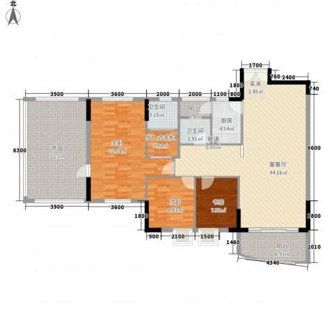 汇景银座3室1厅2卫1厨127.98㎡户型图