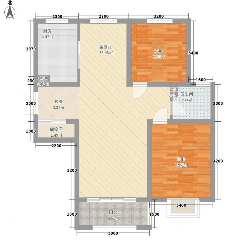茂华紫苑公馆111.10㎡二期高层A21户型2室2厅1卫1厨