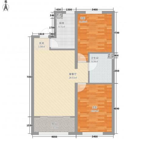 华润凯旋门2室1厅1卫1厨77.65㎡户型图