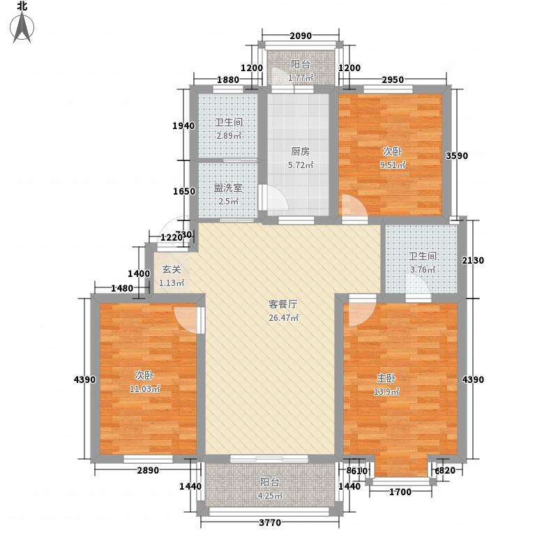 东城水岸118.66㎡东城水岸户型图E1户型3室2厅2卫1厨户型3室2厅2卫1厨