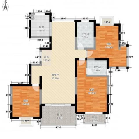 我家山水新月苑3室1厅2卫1厨144.00㎡户型图