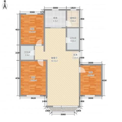 鹿鸣苑3室1厅2卫1厨144.00㎡户型图