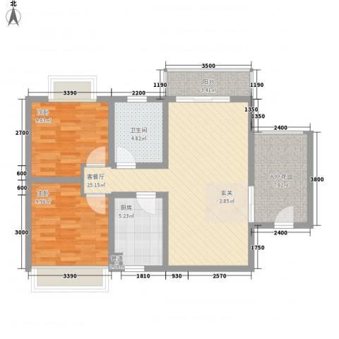 海晟・逸清园2室1厅1卫1厨95.00㎡户型图