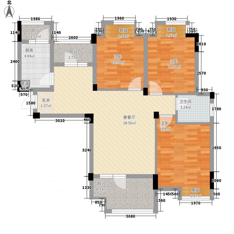 武汉恒大龙城3室1厅1卫1厨82.25㎡户型图
