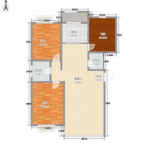 鹿鸣苑3室1厅2卫1厨135.00㎡户型图