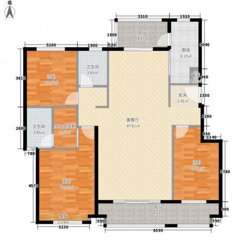 天泰华府3室1厅2卫1厨164.00㎡户型图