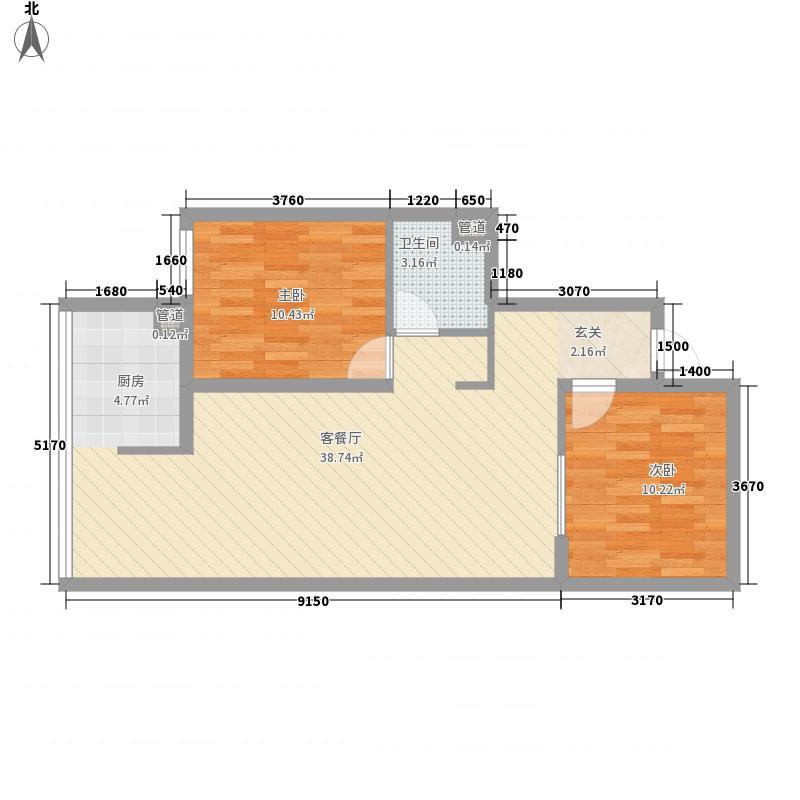 在水一方2室1厅1卫0厨88.00㎡户型图