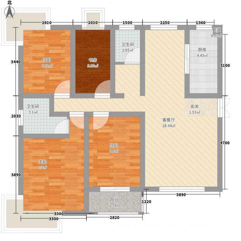 君临华府111.22㎡A户型4室2厅2卫