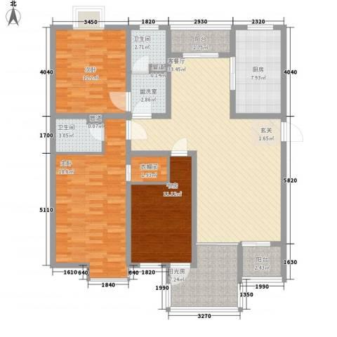 玉源国际公馆3室1厅2卫1厨154.00㎡户型图