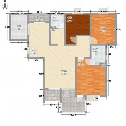 玉源国际公馆3室1厅2卫1厨150.00㎡户型图