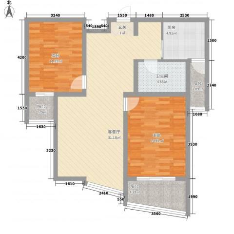 玉源国际公馆2室1厅1卫1厨110.00㎡户型图