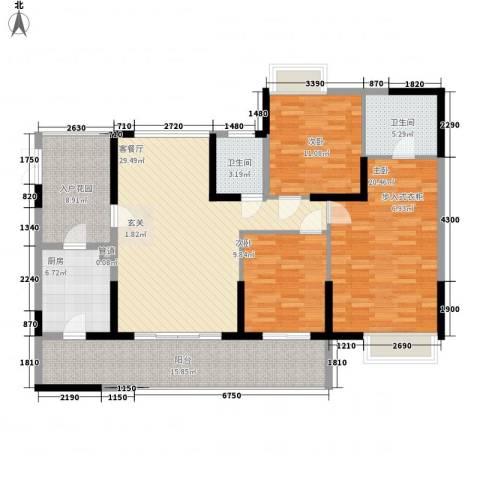 宝麒花园3室1厅2卫1厨139.00㎡户型图