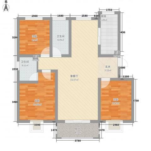 花漾山3室1厅2卫1厨115.00㎡户型图