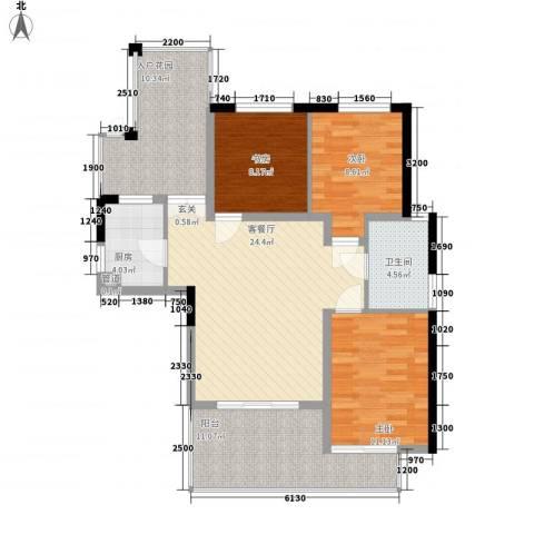 滨湖世纪城徽杰苑3室1厅1卫1厨116.00㎡户型图