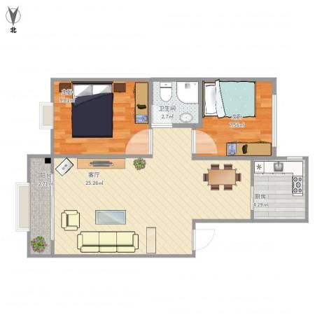 石臼老街2室1厅1卫1厨71.00㎡户型图