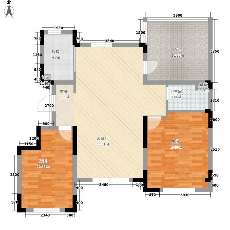 沈阳中航城・两河流域2室1厅1卫1厨122.00㎡户型图