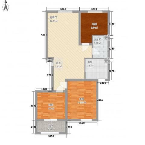 蓝湾御景3室1厅1卫1厨111.00㎡户型图