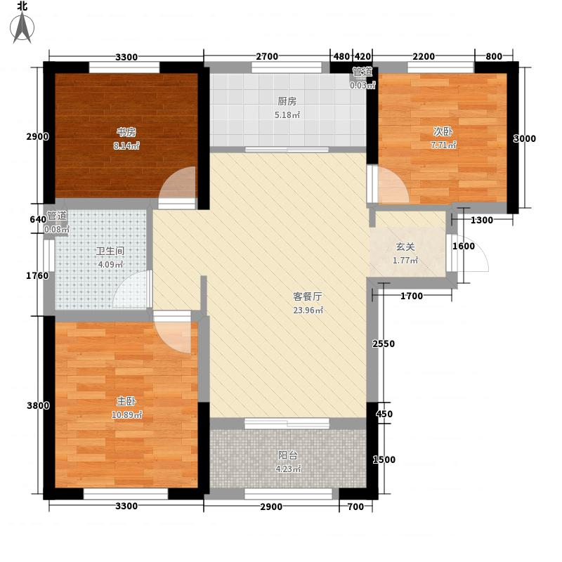世茂倾城3室1厅1卫1厨93.00㎡户型图