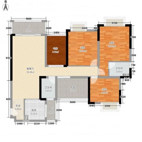 世纪城幸福公馆4室1厅2卫1厨158.00㎡户型图
