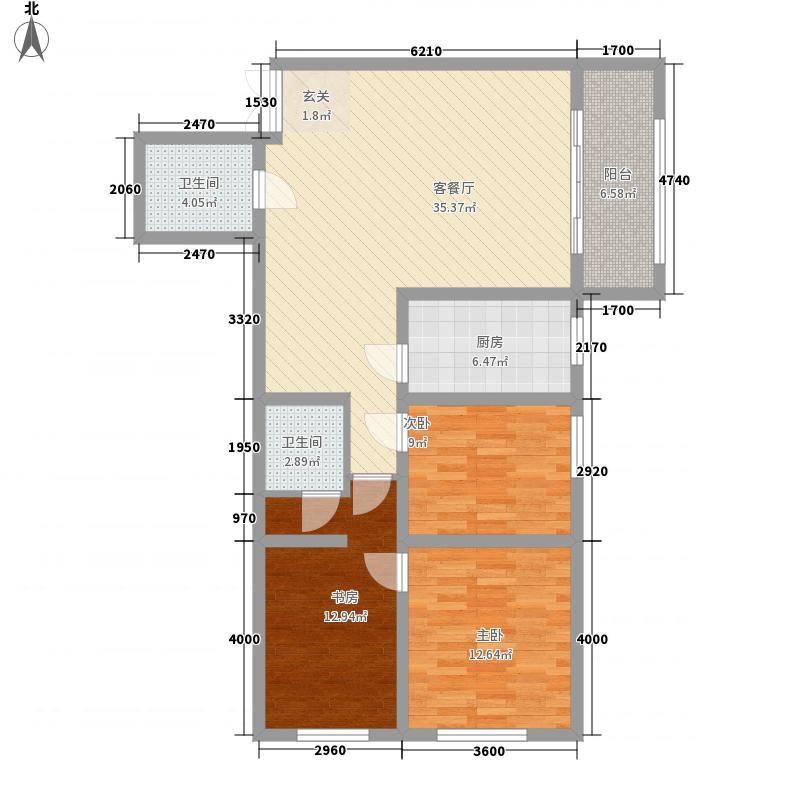 众邦金水湾1号院3室1厅2卫1厨129.00㎡户型图
