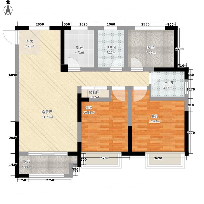 上河时代2室1厅2卫1厨117.00㎡户型图