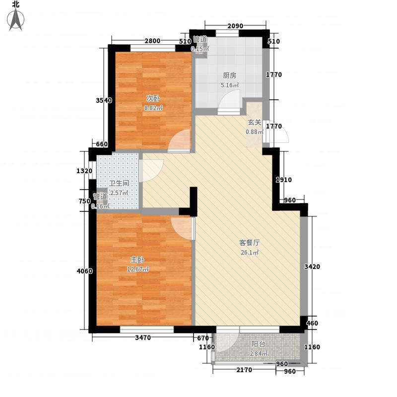 万科现在城83.00㎡1号楼B户型2室2厅1卫1厨