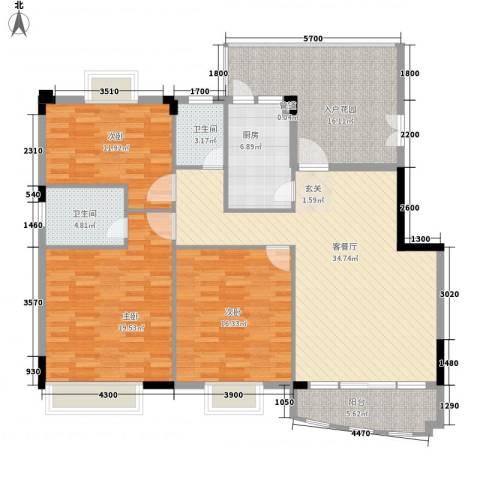 益利名门花园3室1厅2卫1厨119.16㎡户型图