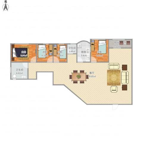 同乐大厦4室1厅2卫1厨168.00㎡户型图