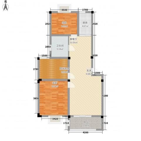 东方丽景2室1厅1卫1厨96.00㎡户型图