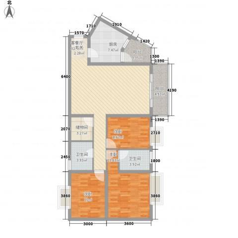 英皇湖畔花苑3室1厅2卫1厨132.00㎡户型图