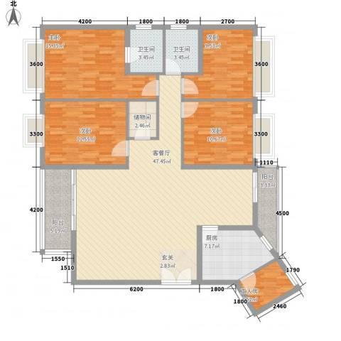 英皇湖畔花苑4室1厅2卫1厨174.00㎡户型图