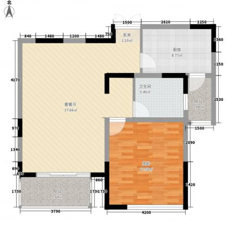 白领生活馆1室1厅1卫1厨110.00㎡户型图