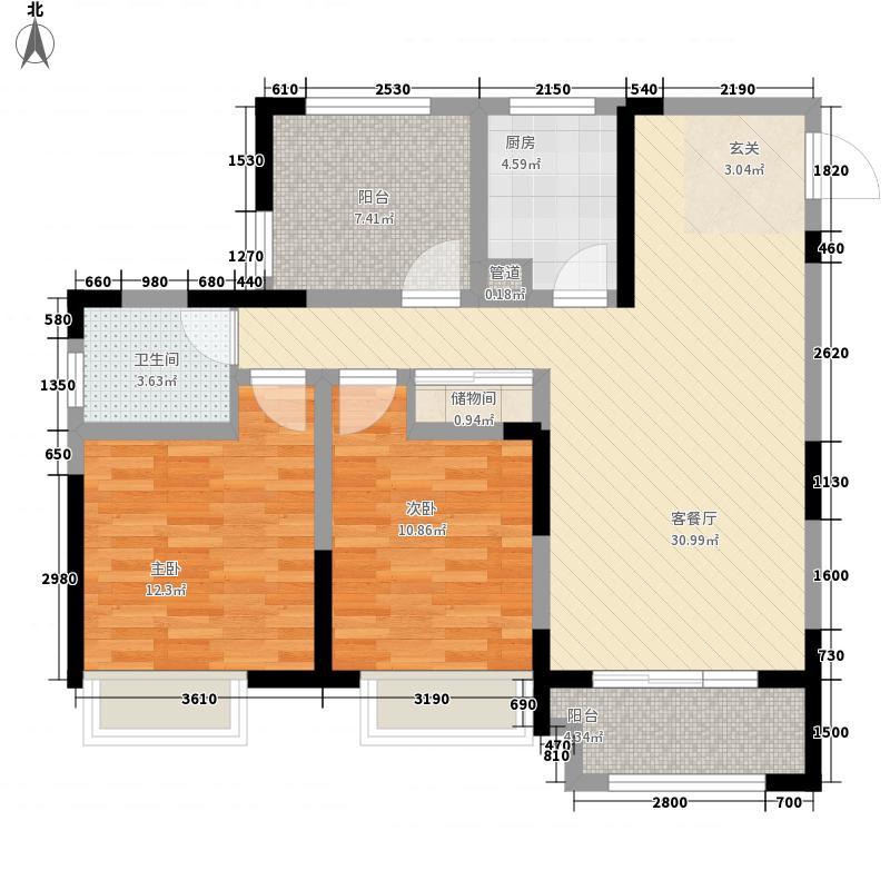 上河时代2室1厅1卫1厨110.00㎡户型图