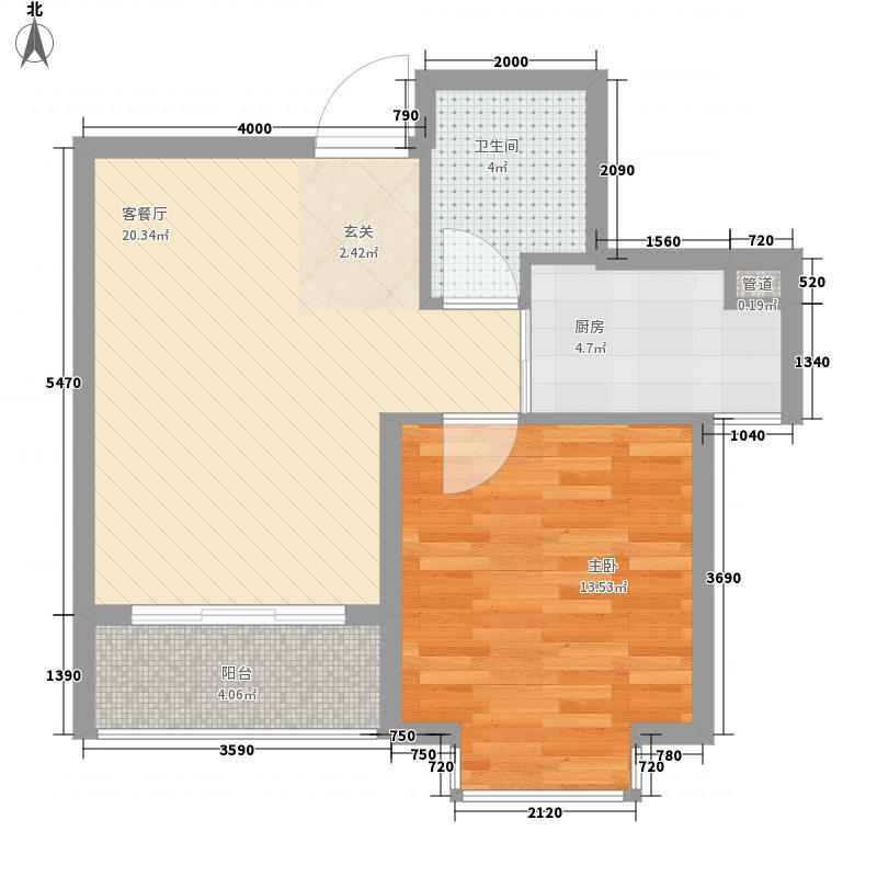 爱琴海66.40㎡一期1、2#楼B户型1室2厅1卫1厨