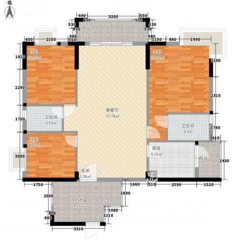 廊桥名轩3室1厅2卫1厨137.00㎡户型图