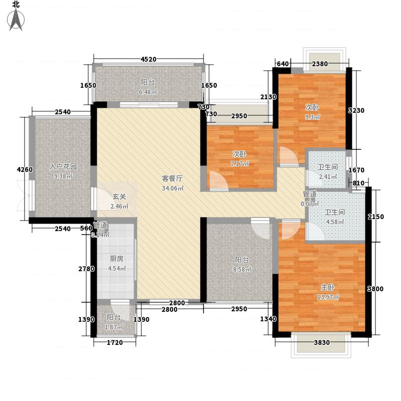 龙光城3室1厅2卫1厨146.00㎡户型图