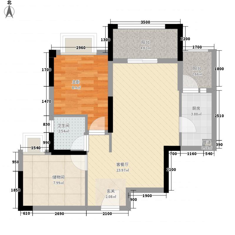 金科空港城1室1厅1卫1厨80.00㎡户型图