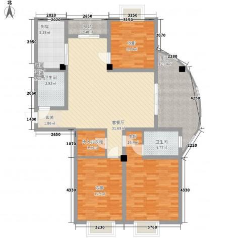 勤德家园3室1厅2卫1厨145.00㎡户型图