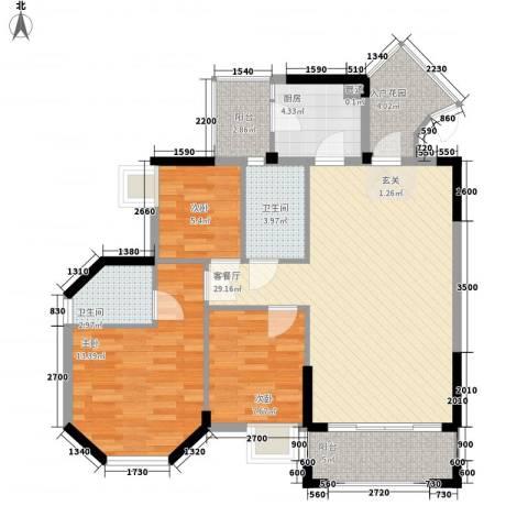 廊桥名轩3室1厅2卫1厨107.00㎡户型图