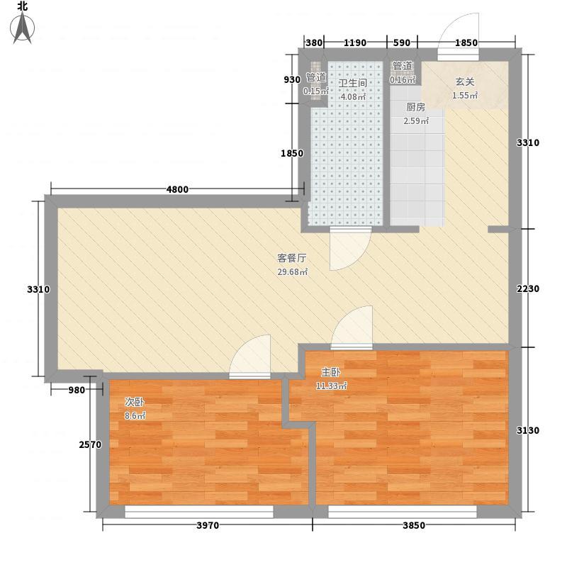 第九频道2室1厅1卫0厨77.00㎡户型图