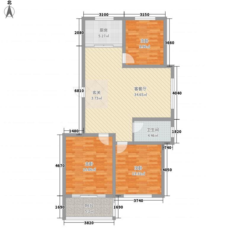 龙凤花园3室1厅1卫1厨126.00㎡户型图