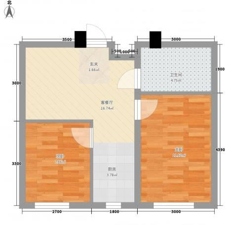 松白嘉园2室1厅1卫0厨58.00㎡户型图