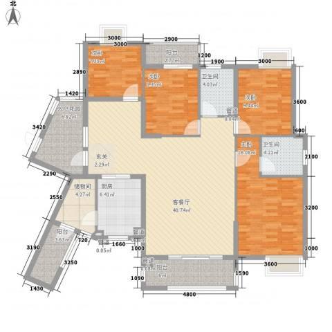 禹洲新村4室1厅2卫1厨173.00㎡户型图