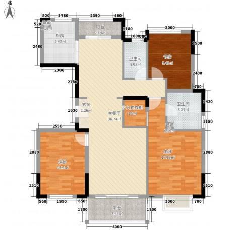 万科翡丽山别墅3室1厅2卫1厨143.00㎡户型图