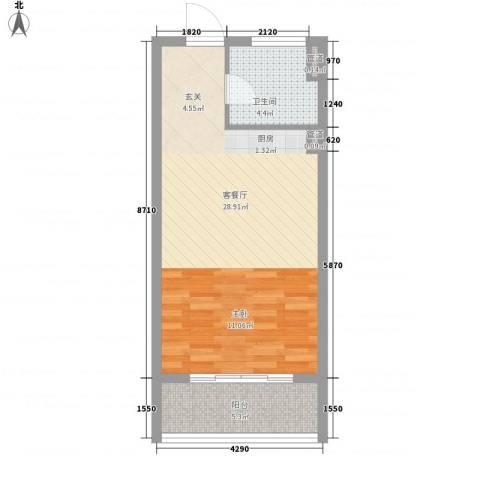 绿岛江湾城1厅1卫0厨56.00㎡户型图