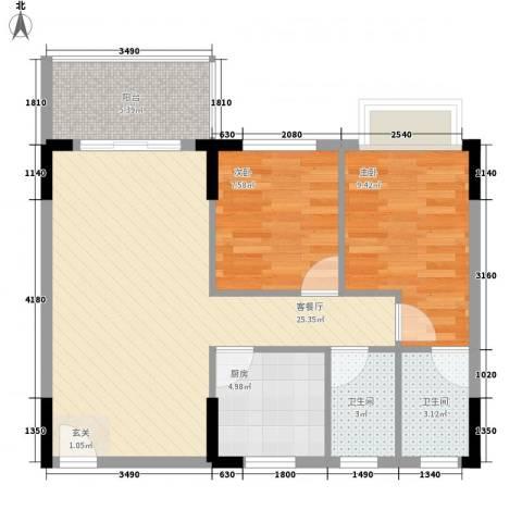 兴隆花园2室1厅2卫1厨83.00㎡户型图
