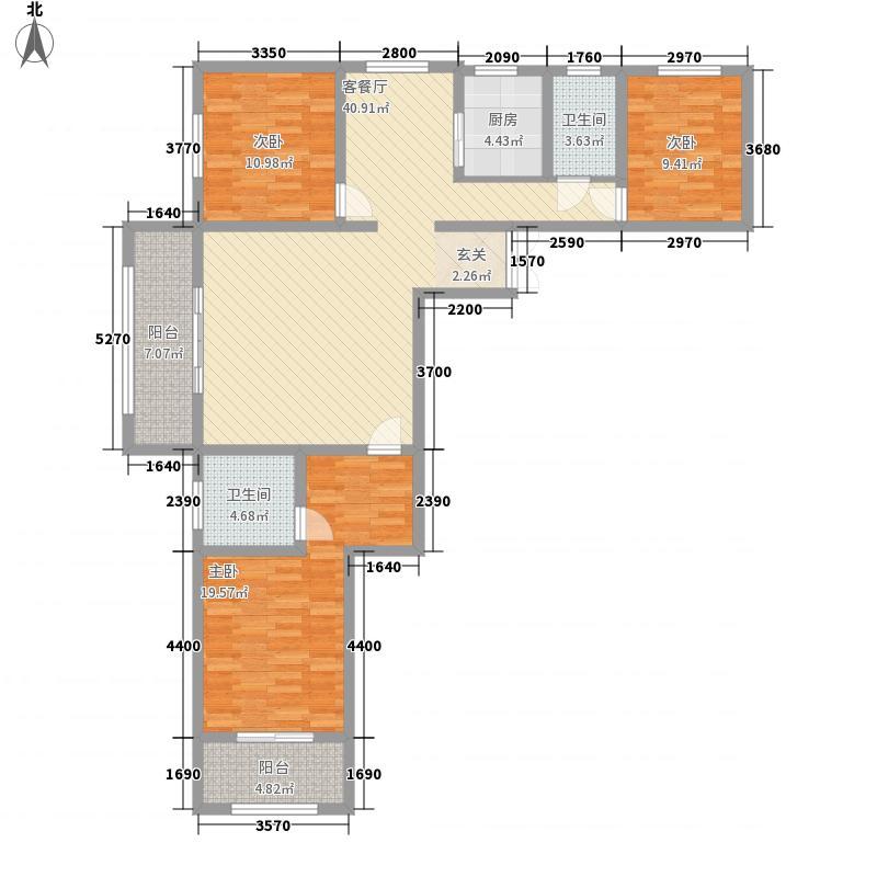 众邦金水湾1号院3室1厅2卫1厨153.00㎡户型图