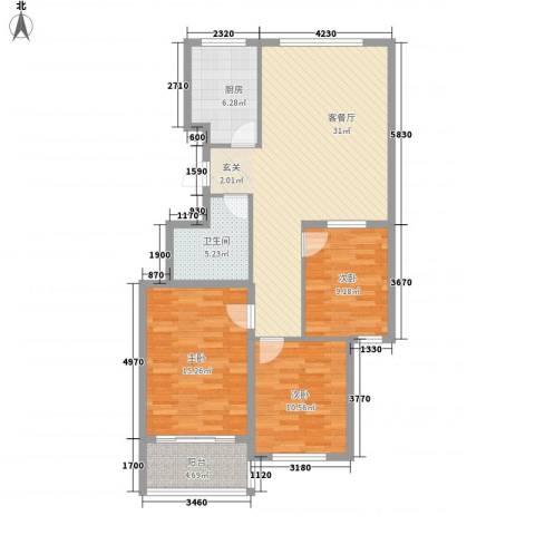 龙凤花园3室1厅1卫1厨116.00㎡户型图