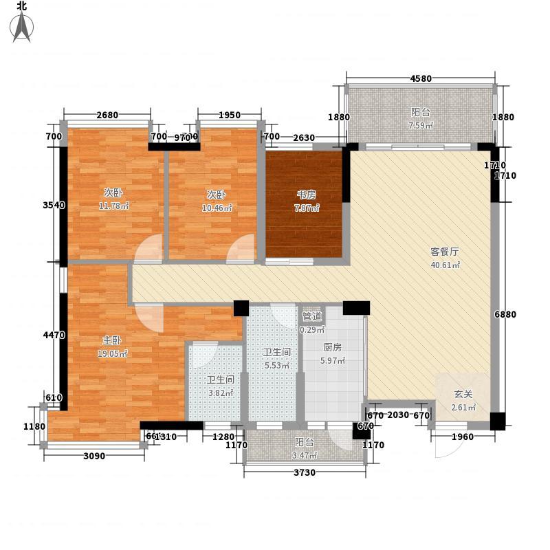 兴进上誉4室1厅2卫1厨125.00㎡户型图