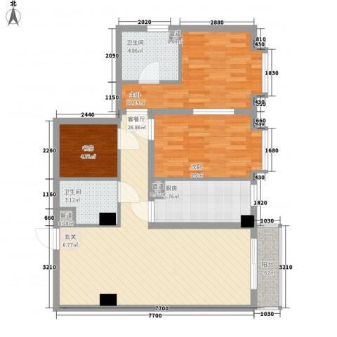 宝华花园3室1厅2卫1厨68.64㎡户型图